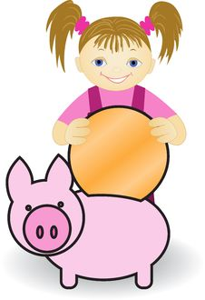 Girl And  Piggy Bank Royalty Free Stock Photo