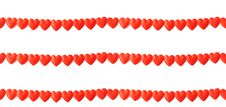 Free Three Lines Of Red Silk Hearts On White Royalty Free Stock Photos - 19636428