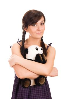 Portrait Of A Beautiful Young Woman With Toy Royalty Free Stock Photos