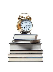 Alarm Clock On Books Royalty Free Stock Images