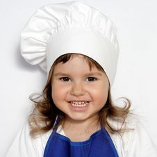 Free Little Cute Girl In Cook S Cap Portrait Royalty Free Stock Image - 19639636