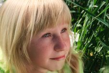 Close-up Portrait Of The Blond Young Girl Royalty Free Stock Image