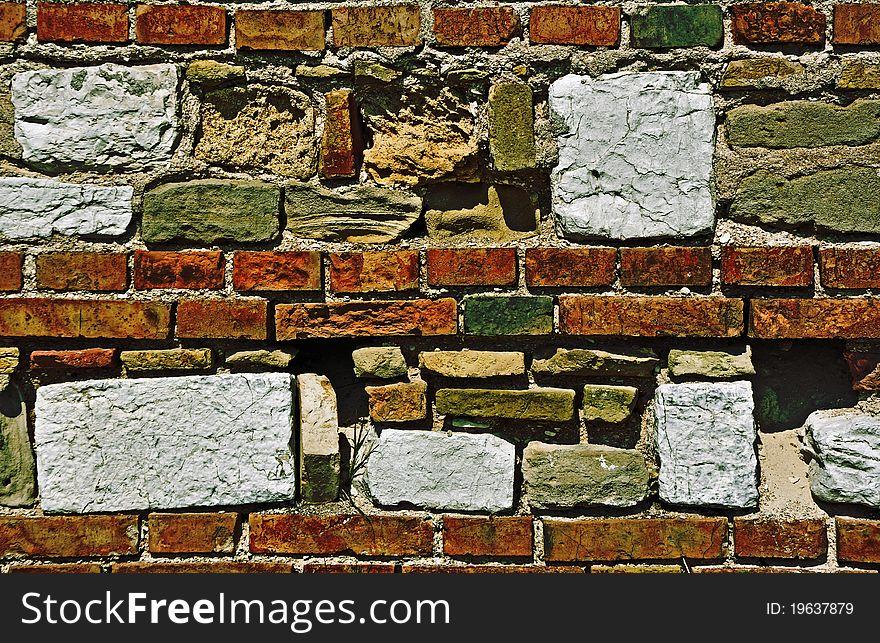 Different bricks wall