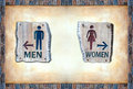Free Men And Women Sign Over Color Rock Frame Board Royalty Free Stock Photos - 19643228