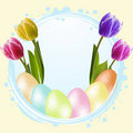 Free Speckled Easter Eggs And Tulips Royalty Free Stock Images - 19644389