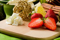 Free Strawberry Dessert On Cutting Board Royalty Free Stock Photography - 19647427