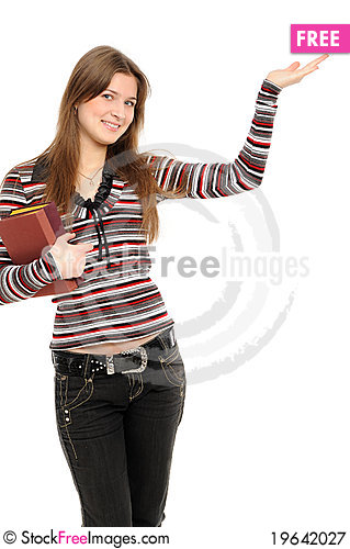 Free Woman Holding Hand Presenting A Product Royalty Free Stock Photography - 19642027