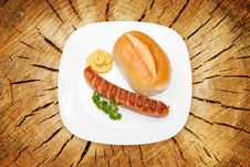 Free Grilled Sausage With Mustard, Bread Stock Image - 19642191