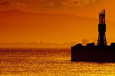 Free Golden Sunset Gibraltar Harbor Royalty Free Stock Images - 19642269
