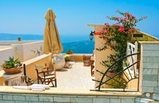 Magic Terrace In Santorini Stock Photos