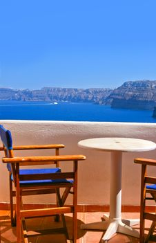 Free Magic Terrace In Santorini With Caldera View Stock Photography - 19642602