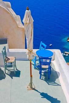 Free Magic Terrace In Santorini With Caldera View Stock Image - 19642681