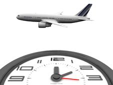 Free Clock And Plane Royalty Free Stock Image - 19643256