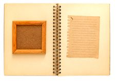 Free Wooden Frame  The Notebook Notepad Royalty Free Stock Photos - 19643288