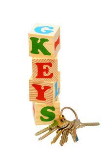 Keys Wooden Blocks Stock Photo