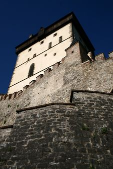 Free Karlstejn Tower From Bottom Royalty Free Stock Photo - 19644235