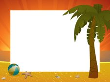 Free Summer Sunset Border With Palm Tree Royalty Free Stock Images - 19644239