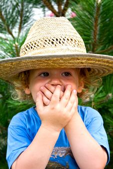 Free Little Boy In A Big Hat Stock Image - 19644311