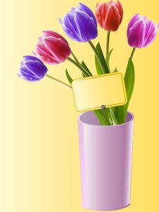 Free Tulips In A Pink Vase With Gift Card Stock Images - 19644354