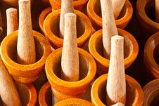 Free Wooden Mortar And Pestle Royalty Free Stock Photos - 19644658