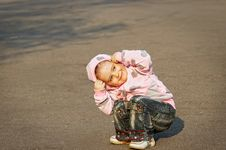 Free Child Playing On The Asphalt Stock Photography - 19644952