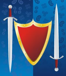 Free Couple Swords And Reds Shield Stock Images - 19645054
