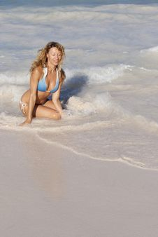Free Beatiful Woman In Bikini Sitting On The Beach Royalty Free Stock Images - 19645619