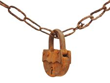 Vintage Padlock On Very Old Chain Stock Image