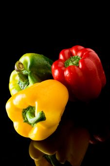 Free Pepper On Black Backround Stock Photo - 19646340