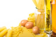 Free Pasta Ingredients On The White Royalty Free Stock Image - 19647036