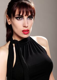 Free Attractive Brunette In A Black Dress, Portrait Royalty Free Stock Images - 19647809