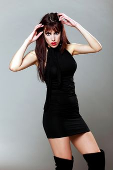 Free Attractive Brunette In A Small Black Dress, Posing Stock Photo - 19647860