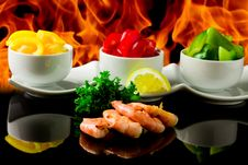 Grilled Prawns Over Flames Royalty Free Stock Photography