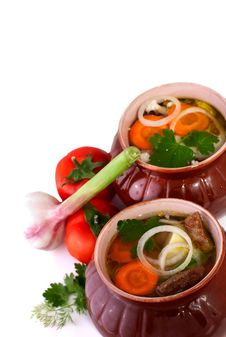 Soup In Clay Pots Royalty Free Stock Image