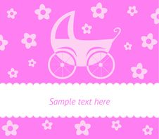 Free Baby Card With Stroller Royalty Free Stock Photo - 19648745