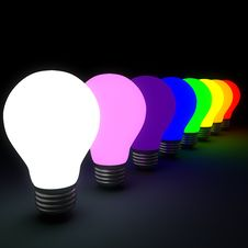 Free Bulbs_rainbow Stock Image - 19649191