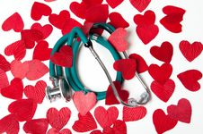 Free Stethoscope And Hearts Stock Photography - 19649412