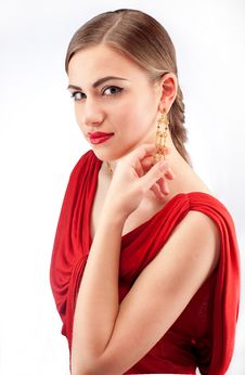 Free Young Beautiful Woman With Red Lips In Red Dress Stock Photos - 19649473