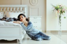 Free Beautiful Woman Resting Near The Bed Stock Photo - 19649500