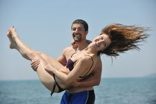 Free Happy Young Couple Have Fun On Beach Stock Images - 19649534