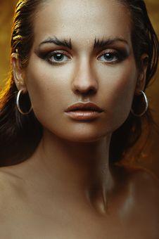 Free Beautiful Young Woman With Gold Makeup Stock Photos - 19649573