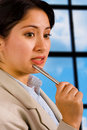 Free Business Woman In Her Office Thinking Royalty Free Stock Image - 19652706