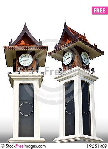 Thai-style clock tower Stock Photo