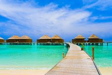 Free Water Bungalows And Pathway Stock Image - 19651251