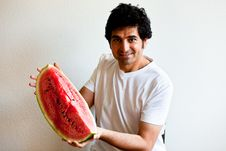 Free Man Holding A  Big Slice Of Watermelon Stock Images - 19651394