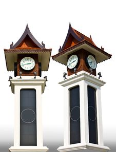 Thai-style Clock Tower Royalty Free Stock Images