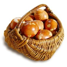 Ritual Eggs In Wicker Basket Royalty Free Stock Photo