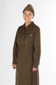 The Girl In The Military Form Royalty Free Stock Photography