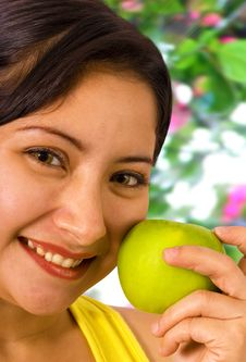 Free Young Lady About To Eat An Apple Royalty Free Stock Photo - 19652745