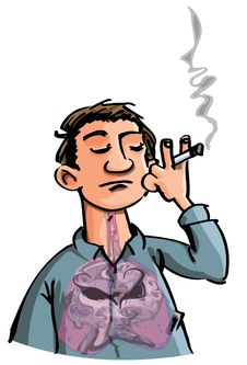 Cartoon Of Evil Smoke Filling A Smokes Lungs Stock Photo